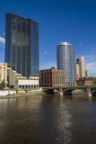 Cityscape and the Grand River, Grand Rapids, Michigan, USA Photographic Print by Randa Bishop