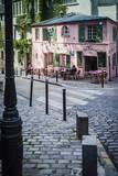 Historic La Maison Rose Cafe in Montmartre, Paris, France. Photographic Print by Brian Jannsen