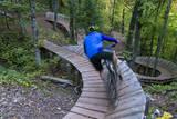 Mountain biking on the Over the Edge Trail, Copper Harbor, Michigan Stampa fotografica di Chuck Haney