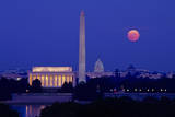 Moonrise over the Lincoln Memorial, Capitol, Washington, DC. Photographic Print by Charles Cecil