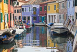 Italy, Burano, Houses along the Canals of Burano and reflections. Photographic Print by Terry Eggers