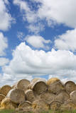 USA, Montana, Garfield County, Big sky country, and hay bales. Photographic Print by Jamie & Judy Wild