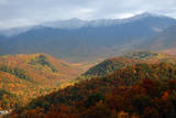 Mt LeConte above fall foliage, Smoky Mountains, Tennessee, USA Photographic Print by Anna Miller