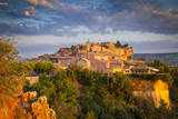 Sunrise over Roussillon village in the Luberon, Provence France. Photographic Print by Brian Jannsen