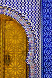 Brass Door and Tile Work at Dar al-Makhzen, Fez, Morocco. Photographic Print by Charles Cecil