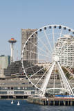 USA, WA, Seattle.Great Wheel on Pier 57 and cityscape. Photographic Print by Trish Drury