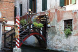 Italy, Venice, Back Canal Restaurant with Gondola Piers. Photographic Print by Terry Eggers