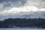 USA, Washington. Olympic Mountains behind Brownsville Marina. Photographic Print by Trish Drury