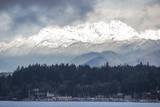 USA, Washington. Olympic Mountains behind Brownsville Marina. Photographic Print by Trish Drury