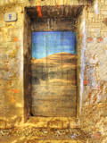 Italy, Monterigioni, Old Hand Painted Doors in Back Alley of Town Photographic Print by Terry Eggers