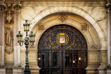 Front entry detail to Hotel de Ville, Paris, France Photographic Print by Brian Jannsen