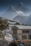Teahouses with Mt. Ama Dablam in background. Photographic Print by Lee Klopfer