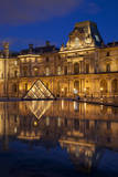 Twilight reflections at Musee du Louvre, Paris, France Photographic Print by Brian Jannsen