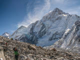 Trekkers and porters on a trail, Khumbu Valley, Nepal. Photographic Print by Lee Klopfer