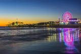 USA, California, Los Angeles, Santa Monica Pier Twilight Photographic Print by Rob Tilley