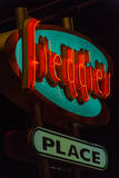 USA, Texas, Austin. Neon sign for Freddie's place. Photographic Print by Randa Bishop
