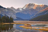 Sunrise on Mt Kitchener and Sunwapta River, Jasper NP, Alberta, Canada Photographic Print by Don Paulson