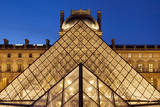 Glass pyramid and architecture of Musee du Louvre, Paris, France Photographic Print by Brian Jannsen