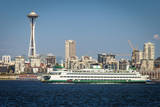 Bainbridge Island Ferry Boat and Seattle skyline, Washington, USA Photographic Print by Brian Jannsen
