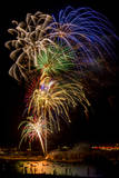 USA, Colorado, Frisco, Dillon Reservoir. Fireworks display on July 4th Photographic Print by Fred Lord