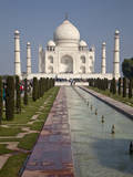 Agra, India. Taj Mahal and Fountains in Water Channel. Photographic Print by Charles Cecil