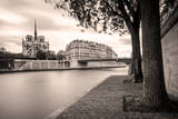 Walkway along River Seine and Cathedral Notre Dame, Paris, France Photographic Print by Brian Jannsen