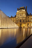 Twilight in the courtyard of Musee du Louvre, Paris, France Photographic Print by Brian Jannsen