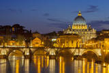 Ponte Sant Angelo and St. Peter's Basilica at dusk, Rome, Lazio, Italy Photographic Print by Brian Jannsen