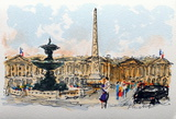 Paris, La Place De La Concorde Collectable Print by Urbain Huchet