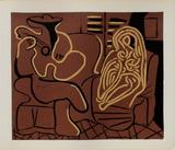 LC - Femme dans un fauteuil et guitariste Impressão colecionável por Pablo Picasso