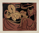 LC - Femme couchée et homme à la guitare Impressão colecionável por Pablo Picasso
