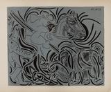 LC - Pique (fond bleu) Impressão colecionável por Pablo Picasso