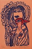 Femme et oiseau au bec rouge Limited Edition by Guillaume Corneille