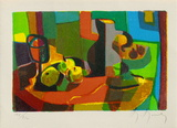 Nature morte au pichet et aux fruits Collectable Print by Marcel Mouly