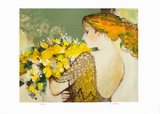 Femme au bouquet jaune Collectable Print by Sachiko Imai