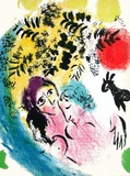 Les Amoureux Au Soleil Rouge Collectable Print by Marc Chagall