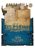 Shofar Above Temple Mount Serigrafi (silketryk) af Moshé Castel