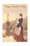 Mother and Child by Balustrade Poster