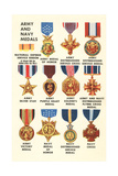 Army and Navy Medals Prints