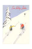Sun Valley, Skiers on Steep Slope Print