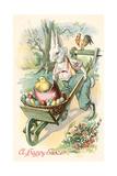 Rabbit with Wheelbarrow Posters