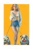 Woman Walking English Bulldogs Poster