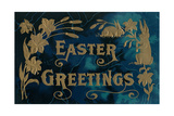 Easter Greetings, Blue and Gold Poster
