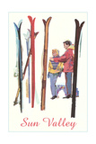 Sun Valley, Skis in Snow Posters