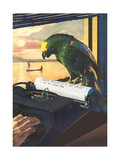 Parrot on Typewriter Stampe