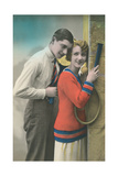 Couple with Tennis Rackets Prints