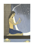Woman Playing Harp Poster