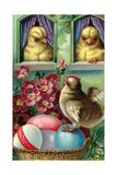 Joyful Easter, Chicks and Eggs - Reprodüksiyon