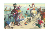Crazy Cats on the Ocean Pier Art
