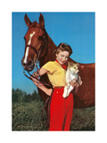 Woman with Collie Puppy and Horse Print